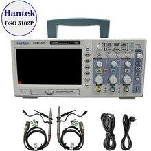 Hantek dso5102p osciloscópio digital 100mhz, 2channels 1gsa/s, tempo real, taxa de amostra, host usb e conectividade do dispositivo 7 Polegada