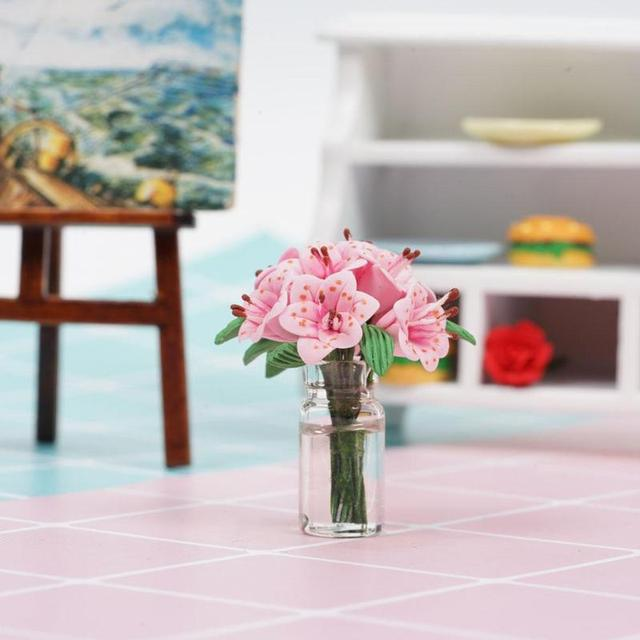 Mini Pink Lily Flower Glass Bottle For Doll House