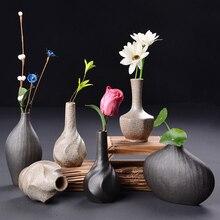 Creative vase Retro Coarse pottery Ceramic vases Tabletop Mini small flower Porcelain crafts wedding home decoration