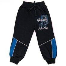 Черные хлопковые спортивные брюки для мальчиков с принтом на
