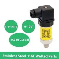 20 to 20 kpa compound sensor   3 psi to 3 psi transmitter 0 10V  pressure sensor  12V 24V 30V DC  1 4 NPT  SS316L wetted parts|Pressure Sensors| |  -