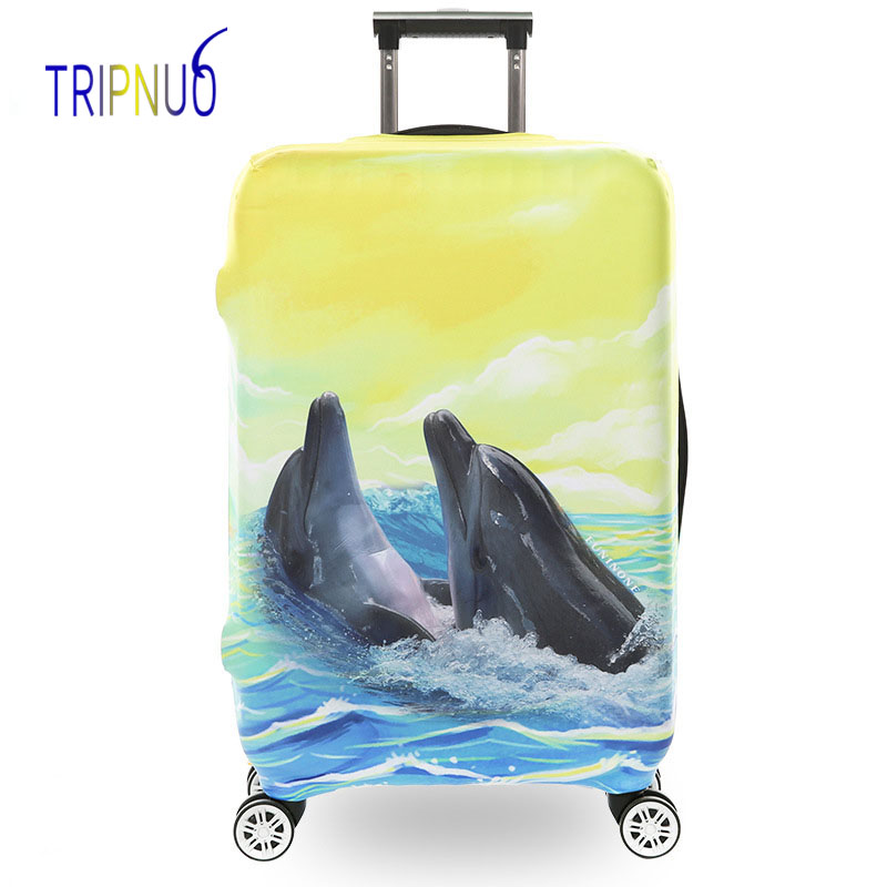TRIPNUO Dolphin Thickest Elastic Luggage Cover Zipper Suit For 18-32 inch Trunk Case Travel Suitcase Protective Covers Bags цена