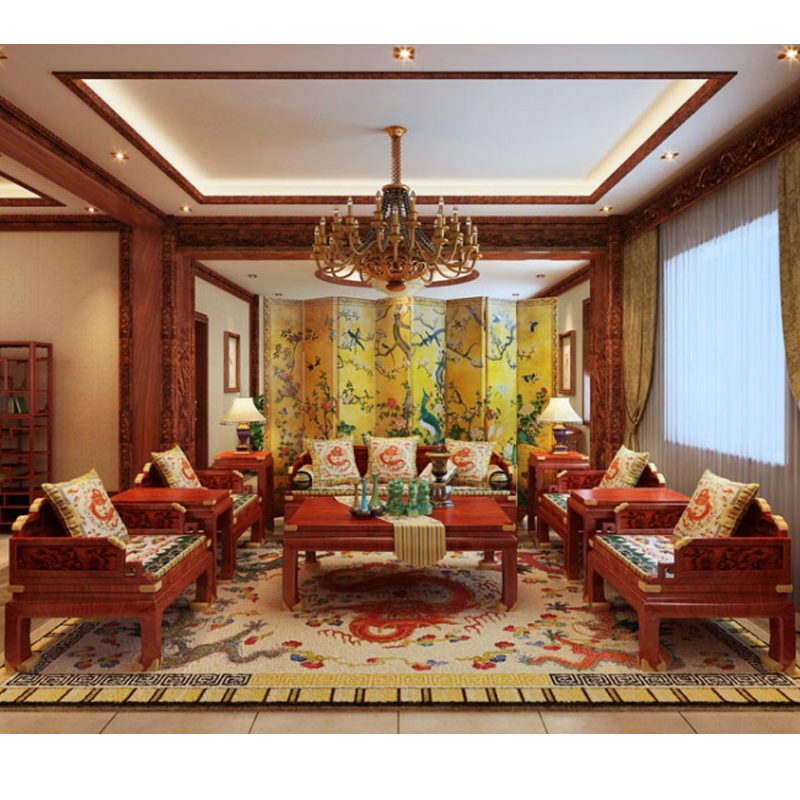 10 Pieces Sofa Set Burma Rosewood 1+2+3 Seater Chair Hotel Living Room  Furniture Set Solid Wood Tea Table Chinese Modern Carving
