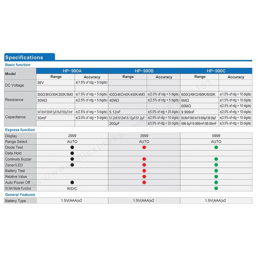 HoldPeak 990A / B / C 3000-6000 Conta SMD Tester Multimetro digitale - Strumenti di misura - Fotografia 4