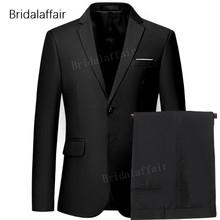 Wspaniały czarny mężczyźni Prom suknia ślubna 2018 smoking pan młody formalnym garnitur męskie zestaw 2 sztuk (kurtka + spodnie) klasyczne męskie garnitur kostiumy tanie tanio Gwenhwyfar skinny Smart Casual qt533 Zipper fly REGULAR COTTON Mieszkanie Pojedyncze piersi Garnitury