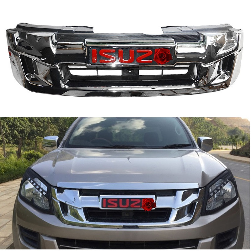 MODIFIED FRONT RACING GRILLE GRILL CHORMED MOULDING GRILLS MESH MASK COVER TRIMS FIT FOR ISUZU D MAX DMAX PICKUP CAR ACCESSORIES