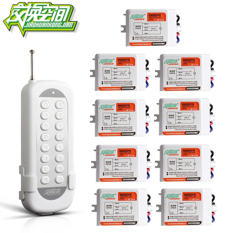 ФОТО JD211A1N9 With 9 Receivers 9 channel  RF Wireless Remote Control Light Switches 220V 110V