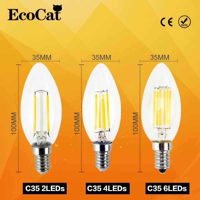 Светодиодный Эдисон лампы C35 E14 светодиодный свет свечи накаливания Ретро прозрачное стекло лампы 2 Вт, 4 Вт, 6 Вт, 220 V 240, холодный и теплый белый для люстры
