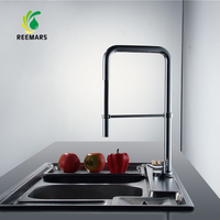 Newest Contemporary REEMARS Design Solid Brass Kitchen Faucet High Polished Sink Faucet High Waterfall Kitchen Faucet