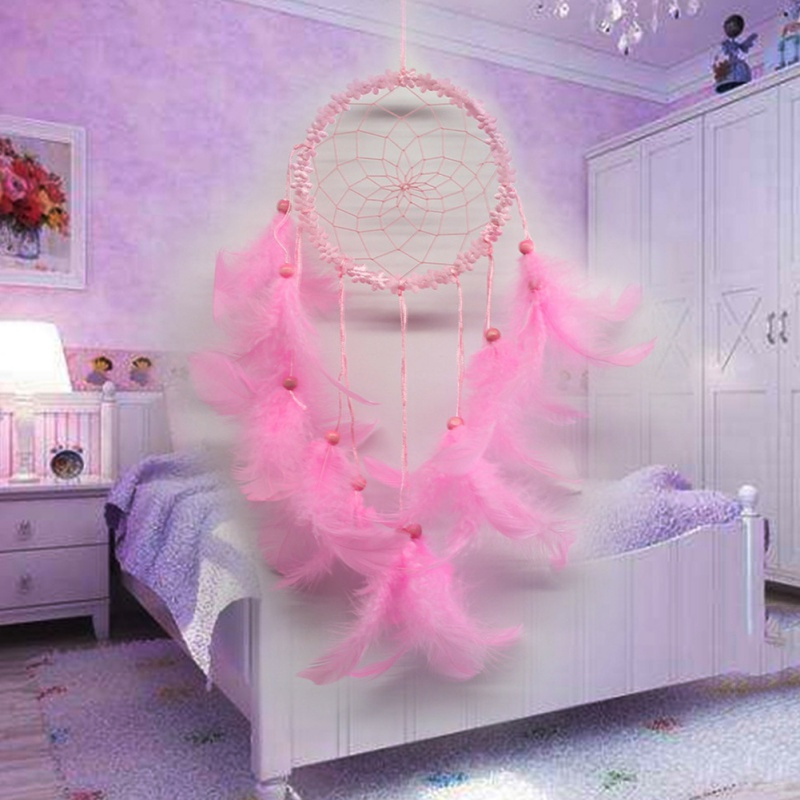 Solid Kawaii Color Feather Flowers Dream Catcher Antique Style ...