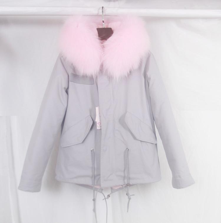 2016 new grey winter jacket coat women parka With light pink large ...