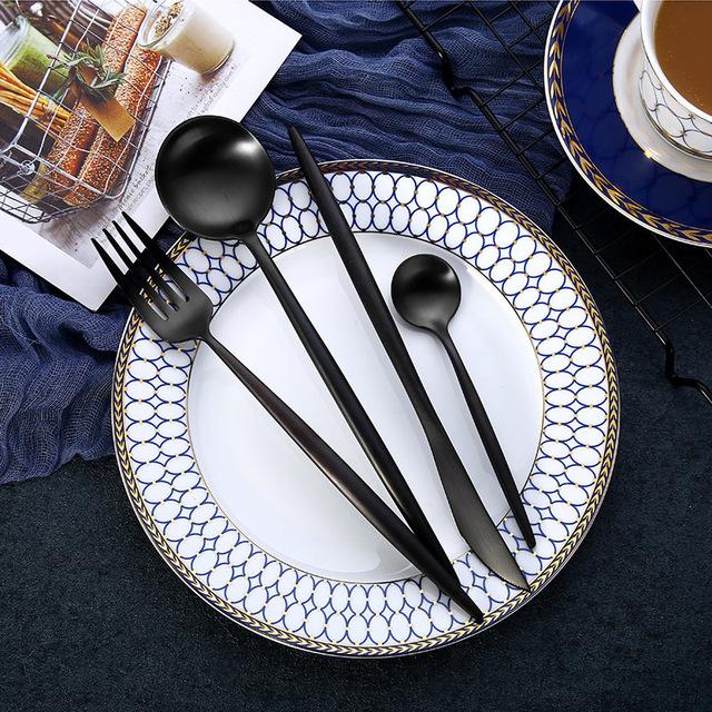 4Pcs/Set Stainless Steel Flatware Cutlery Set Gold Rainbow Black Dinnerware Tableware Fork Knife Coffee Spoon Drop Shipping