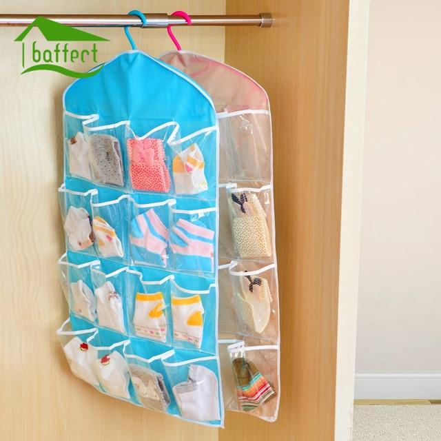 16 Grid Wardrobe Hanging Organizer Underwear Bras Socks Ties Door Hanging  Bag Shoe Rack Storage Bag