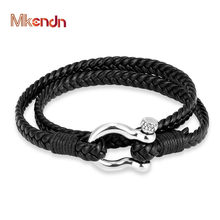 MKENDN High Quality Stainless Steel Shackle Buckle Survival Double Leather Bracelet Men Sport Sailor Surfer Wristband Jewelry(China)