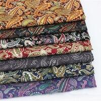 Medidor de tecido popeline de algodão para a camisa de vestido do vintage material de costura retalhos de tecido marrom preto vermelho roxo paisley paisley retro