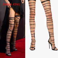 Emma King Summer Women Cross Ties Thigh High Boots Open Toe Cut Out Sexy Women High Heels Shoes Runway Ladies Gladiator Sandals