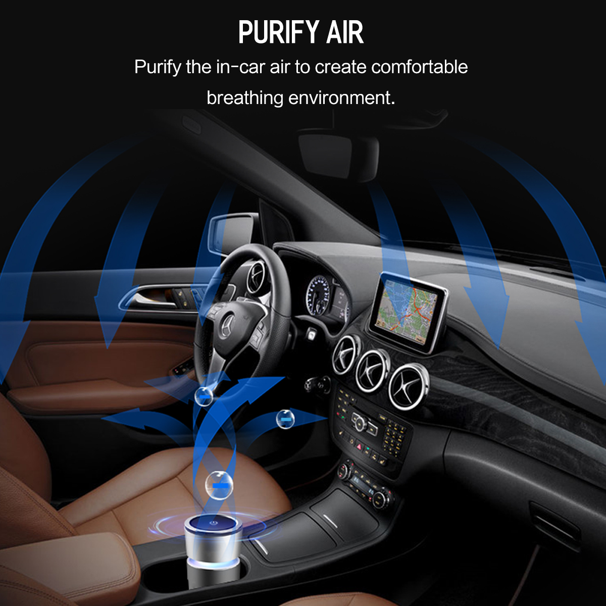 Cup Car Air Purifier Charger, ROCK Alloy Air Cleaner Car-Charger, Strong Air Purifier with Car Phone Charger Function