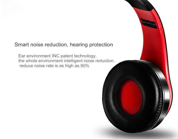 Auriculares estéreo HiFi bluetooth, auriculares de música FM y compatible con tarjeta SD con micrófono para móvil xiaomi iphone sumsamg tablet