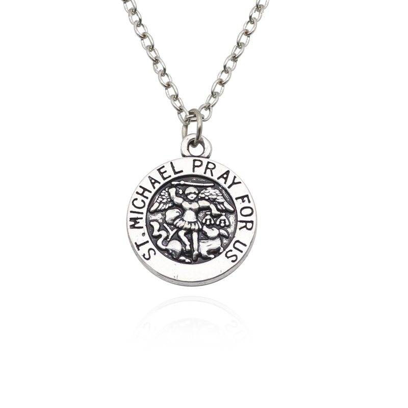 Vintage Michael Necklace Saint ST. Michael Pray For Us Pendant Statement Necklaces Women Men Jewelry Dropshipping