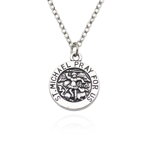 necklace company pewter catholic the medal michael w st chain inch