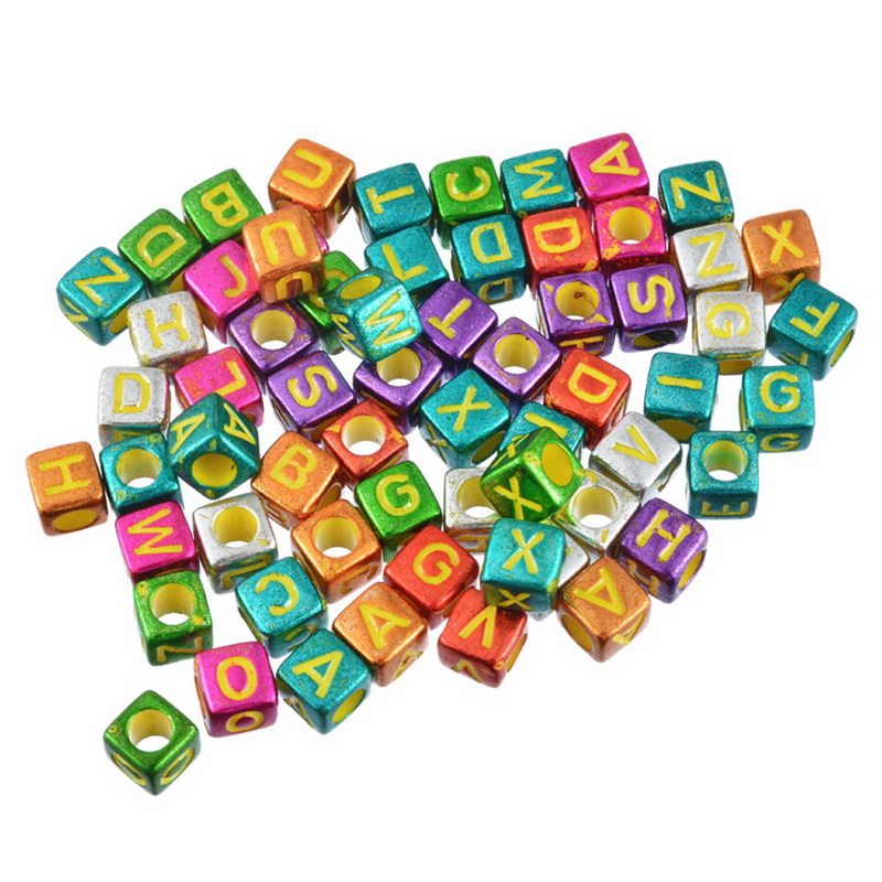 MJARTORIA 300PCs Colorful Letter Alphabet Beads For Jewelry Making DIY Random Mixed Square Acrylic Beads Fit