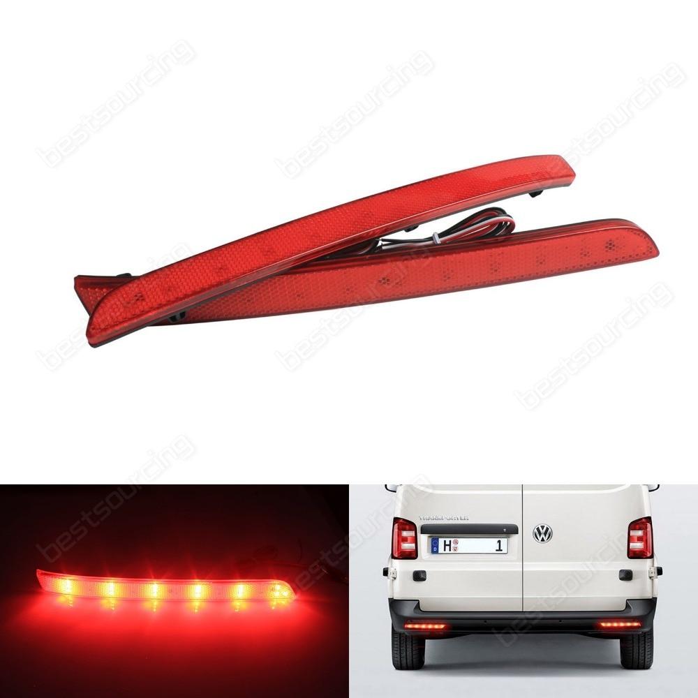 купить VW Transporter T5 Multivan Red LED Rear Bumper Reflector Tail Brake Light 12-16 (Fits: VW 2012) дешево