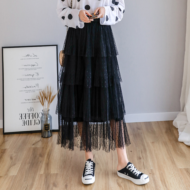 Image 3 - Fitaylor Spring New Sweet Cake Layered Long Mesh Skirts Princess High Waist Ruffled Vintage Tiered Tulle Pleated ins Skirts-in Skirts from Women's Clothing