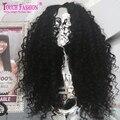 100% Малазийский Странный Вьющиеся Полный Парик Шнурка С Волосами Младенца Парик Фронта шнурка Необработанные Девы Человеческих Волос Glueless Kinky Вьющиеся парик