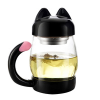 420ml Cute Glass Tea Cup With Filter Outdoor Travel Kettle Drinkware Wholesale Bulk Lots Cooking Kitchen