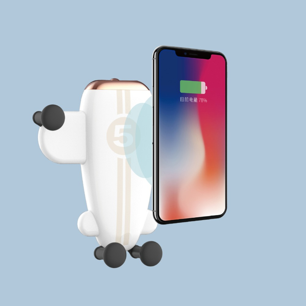 Airplane Car Phone Holder Stand With Qi Fast Wireless Charging Function For iPhoneX XR XS 8 For Samsung Note9 8 S9 S8 Plus S7 S6 image