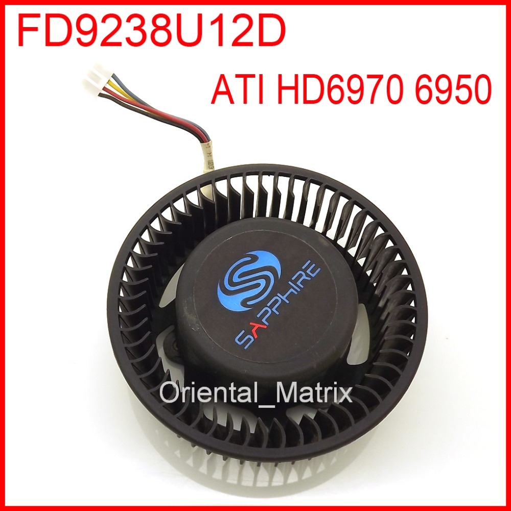 Free Shipping FD9238U12D 12V 1.2A VGA Fan For Sapphire ATI HD6970 6950 Graphics Card Cooler Cooling Fan 4Pin 4Wire 9cm fan large area heat sink for nvidia for ati graphics cooler video card coolers graphics cooling pccooler k91