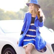 dabuwawa new 2016 brand autumn and winter ladies blue real fur hem slim fashion elegant long wool coat women wholesale
