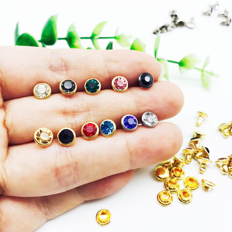50PC/Set Multicolor Rhinestone Crystal Rivets DIY Clothing Bag Leather Crafts Decoration Garment Sewing Glass Drill Nail Button