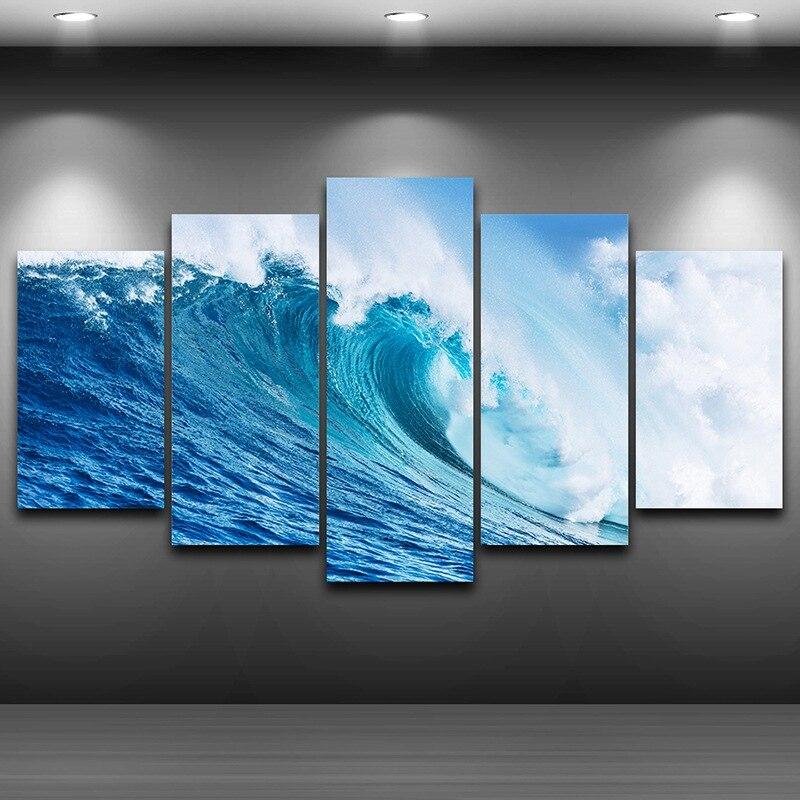 Wellen Meer Künstlerische Gedruckten Zeichnung auf Leinwand Gerahmte ...