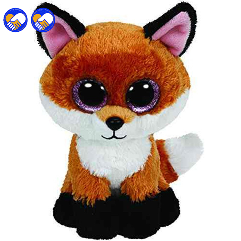 A toy A dream Ty Beanie Boos Big Eyed Stuffed Animal Brown Slick Fox Plush Doll Kids Toy 6'' Birthday Gift Good Quality Soft cute poodle dog plush toy good quality stuffed animal puppy doll model soft doll kids gift baby toy christmas present