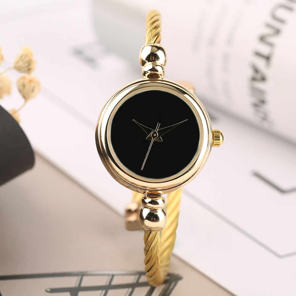 Slim Round Band Lady Wristwatch Analog Display Watch Braceletes Shock Resistant Cuff Bangle Watches For Women Luxury