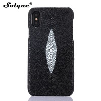 Solque Real Stingray Skin Back Case For IPhone X Pearl Fish Genuine Leather Case Luxury Slim