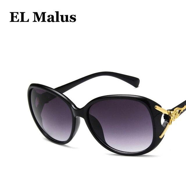 ffe45b0ed9  EL Malus Gold Metal Side Oval Frame Fox Sunglasses Women Retro Brand  Designer Fashion Sun Glasses Tan Mirror Female Driving