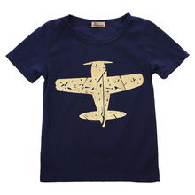 2016 wholesale short sleeve baby boy novelty summer cartoon plane printed tops toddler cotton clothes