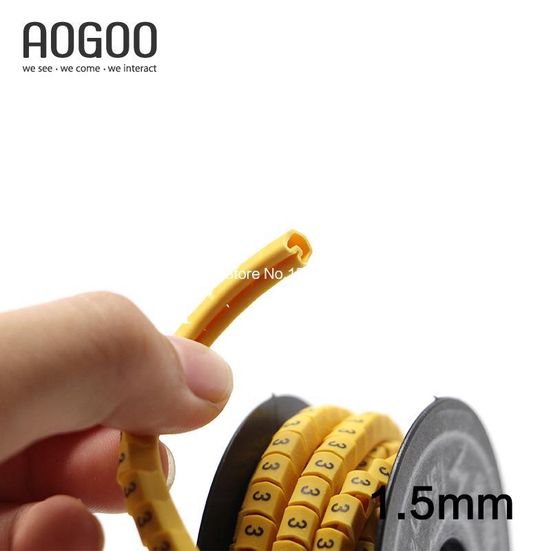 300 Stücke/Rolle 1,5mm Platz Kabel Draht Marker Gelb in 300 Stücke ...