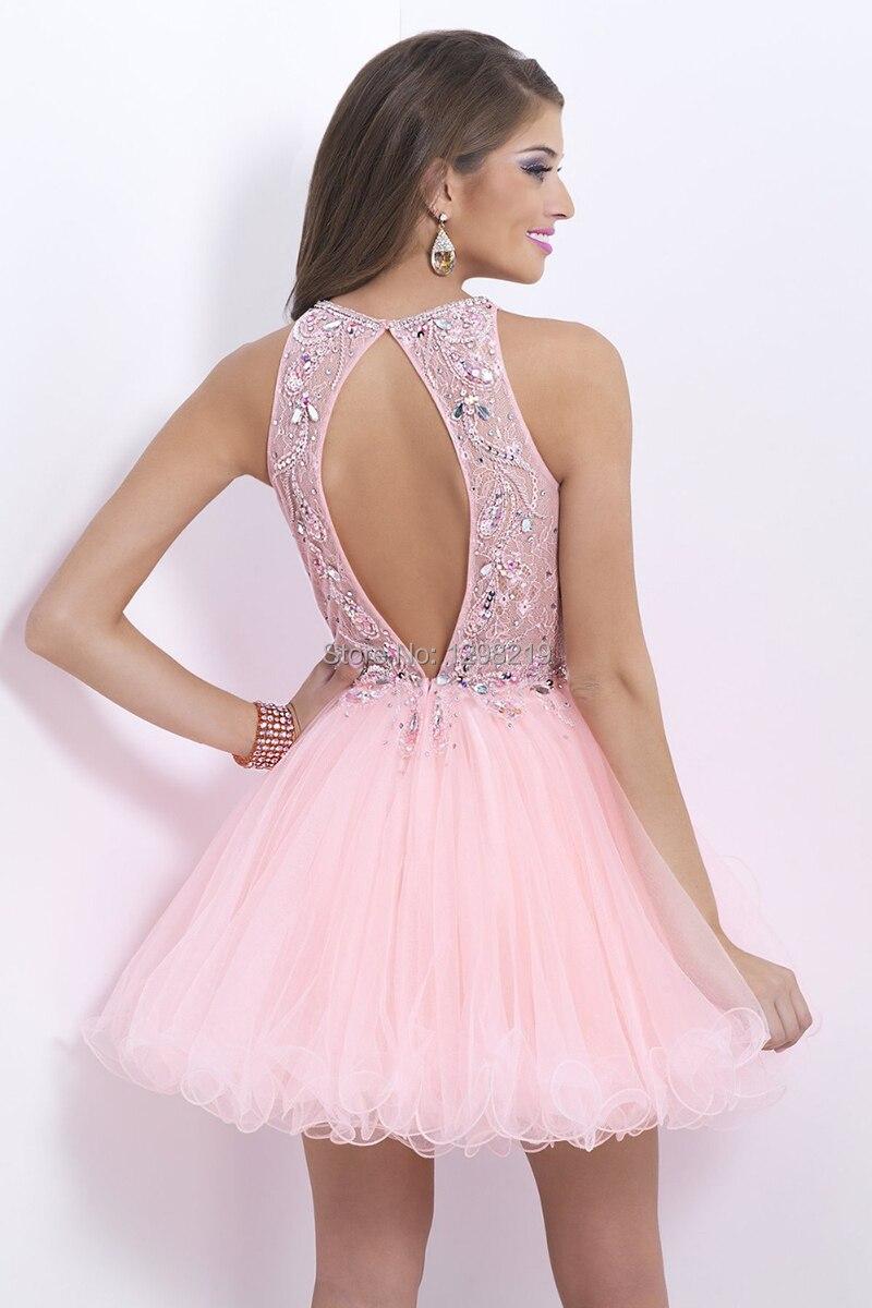 Moda Rhinestone Pink vestido corto de baile Junior Girl Dance Party ...