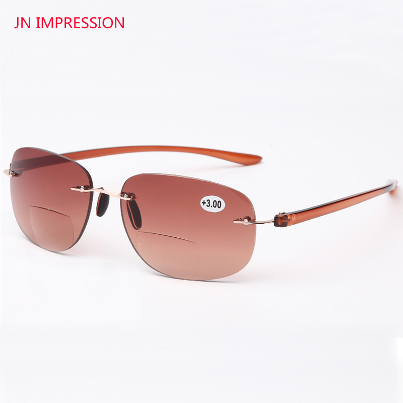 JN IMPRESSION Qualitätsrahmen Damen und Herren Randlose Fassung Titanium Eyeglasses Tint Colored Bifocal Reading Glasses Sonnenbrille 1.0