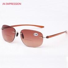 JN IMPRESSION Quality Frames Women and Men Rimless Frame Titanium Eyeglasses Tint Colored Bifocal Reading Glasses