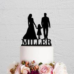 Персональное имя семья свадебный торт Топпер, пара с ребенком силуэт для вершины торта, жених и невеста свадьба деревенский Топпер