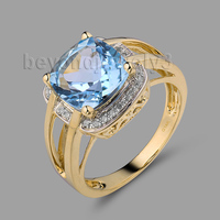 Cushion 9mm Topaz Ring With Dia In14Kt Yellow Gold Purity Ring For Party Engagement Anniversary SR0042A