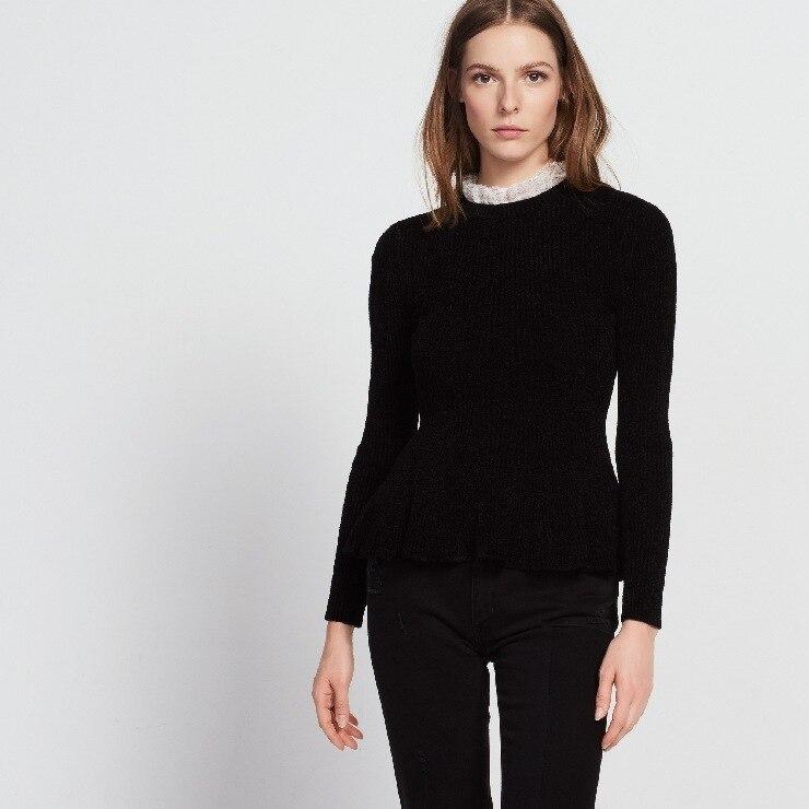 2018 nouveau automne et hiver mode femmes doux élégant mince élastique taille volants dames chandail
