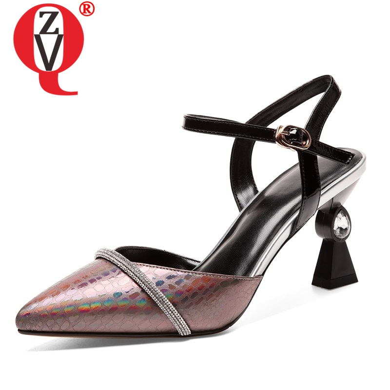 ZVQ shoes woman summer new fashion sexy pointed toe genuine leather woman sandals high strange style buckle party ladies shoesZVQ shoes woman summer new fashion sexy pointed toe genuine leather woman sandals high strange style buckle party ladies shoes