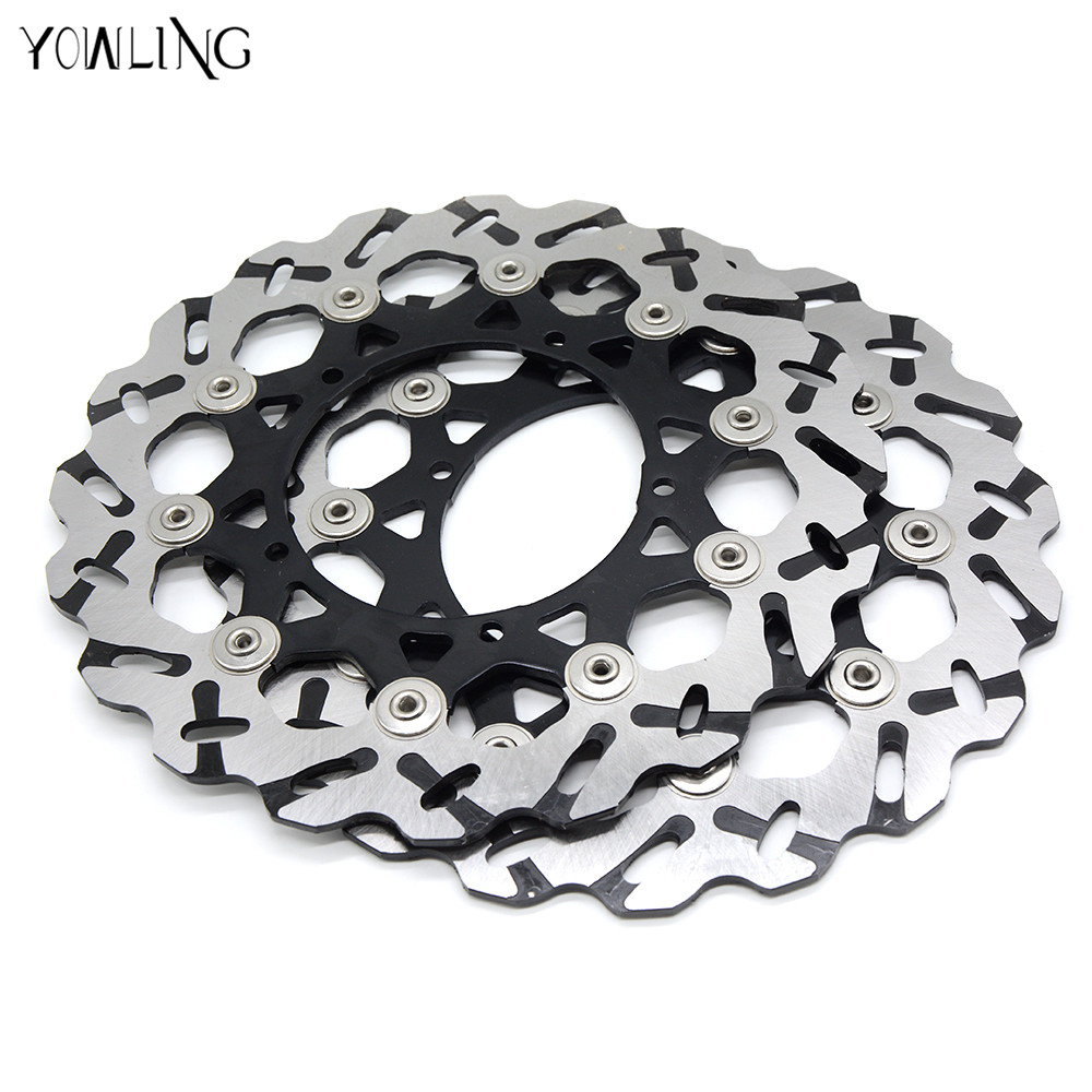 new style 320MM 2 pieces motorcycle Front Brake Discs Rotor for YAMAHA YZF R6 2005 2006 2007 2008 2009 2010 2011 2012 2013 new brand motorcycle accessories gold front brake discs rotor for suzuki gsxr1000 2005 2006 2007 2008