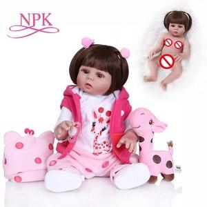 Image 1 - New Full body soft silcone waterproof 48CM newborn bebe doll reborn doll baby girl in pink dress realistic baby Bath toy
