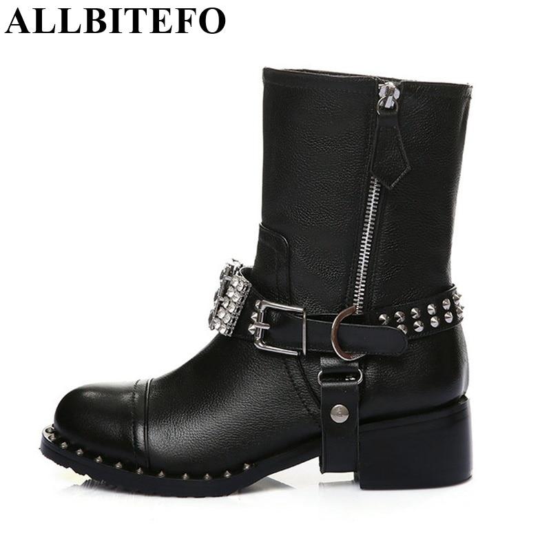 ФОТО ALLBITEFO High quality genuine leather +PU rhinestone buckle rivets thick heel ankle boots 2017 fashion women boots martin boots